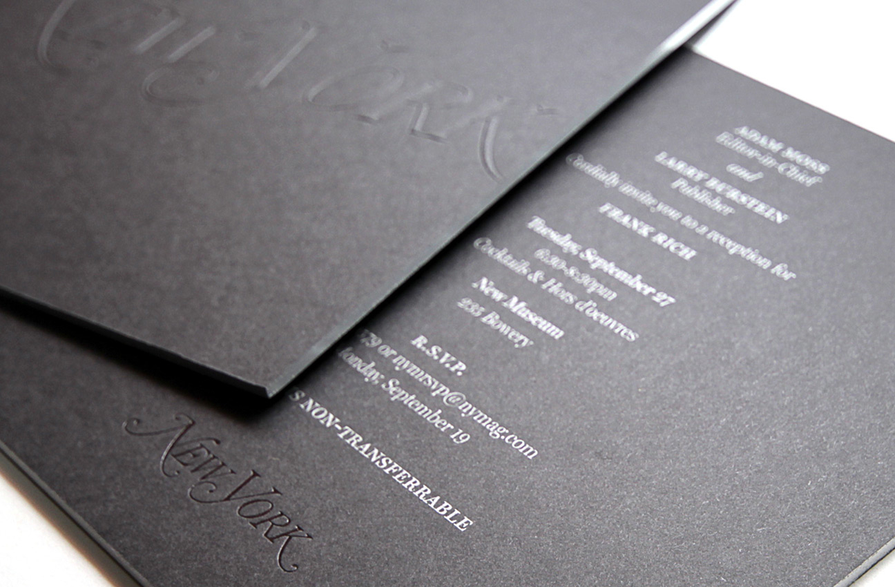 New york magazine invitation jamie stuart invitation for an exclusive event welcoming frank rich to new york magazine blind embossing black foil stamping engraving silver edging stopboris Image collections