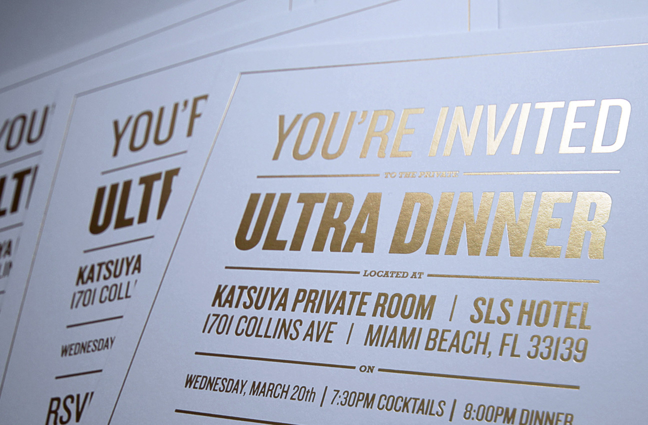 Ultra invite jamie stuart invitation for an exclusive private dinner party sent out to artists and managers gold foil stamping stopboris Image collections